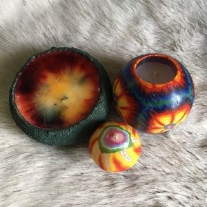 Three Vintage 1990s Psychedelic Candles
